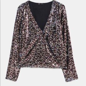 Zara TRF Animal print sequin top M